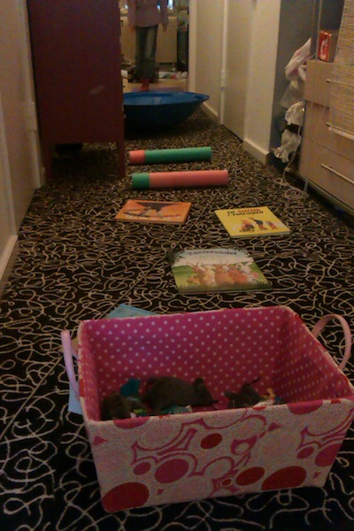 Motorikbane del 4 med kurv at hoppe op i og ud af, bøger at løbe imellem, skumpøller at hoppe over med samlede ben, skildpaddeskjold at vippe i og tilsidst en yogamåtte